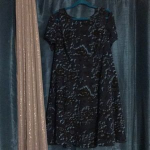 Teal Floral Dress w lining